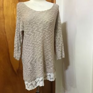 Maurices light sweater with crochet